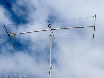 A close-up of John Markham's Moxon Rectangle antenna for 10 meters.