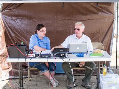 Sarah Honaker, KK6DKP, left, and her father Bill, N9LZ, working 6 meter phone