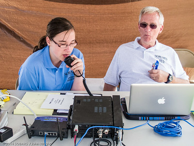 Sarah Honaker, KK6DKP, left,calling CQ on 6 meter phone.