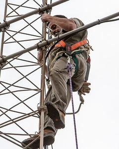 Cesar Alvarez, KD6BHJ, climbing.