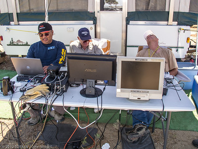 Furious activity at the digital modes station.  Left to right, Pete Villaver, N3PV; Jim Beckman, N6RSL and SOBARS Secretary Fred Curtis, KI6GRO.