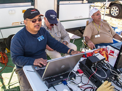 More activity at the digital modes station.  Left to right, Pete Villaver, N3PV; Jim Beckman, N6RSL and SOBARS Secretary Fred Curtis, KI6GRO.