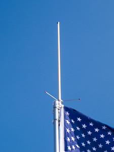 Two meter/440 antenna at the top of the flagpole.