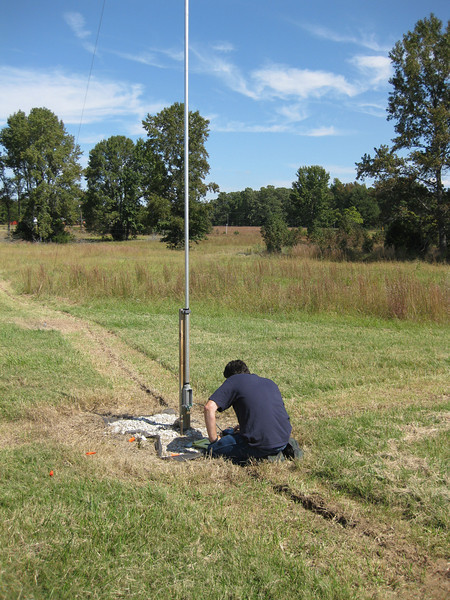 We are working on the impedance matching network on one of the short verticals in the W8JI 8 array.   We found that in Joel's soil, we needed 8 short radials to get the impedance stable.
