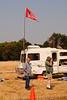 Kap, KE6AFE, under his ARRL flag (temporarily mounted on someone else's van)