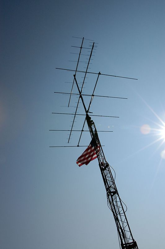 Stars and Stripes fly on the UHF/VHF tower - <i>Sunday, morning</i>
