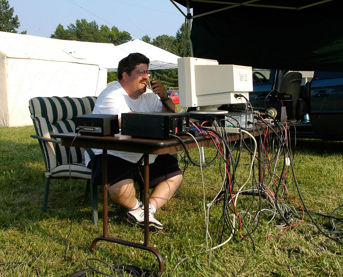 N8AU running the satellite station. - <i>Saturday, evening</i>