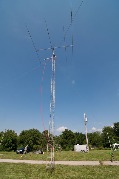 The G.O.T.A. tower. It's just not field day until someone mounts an antenna from a 2x4 zip tied to a tower.