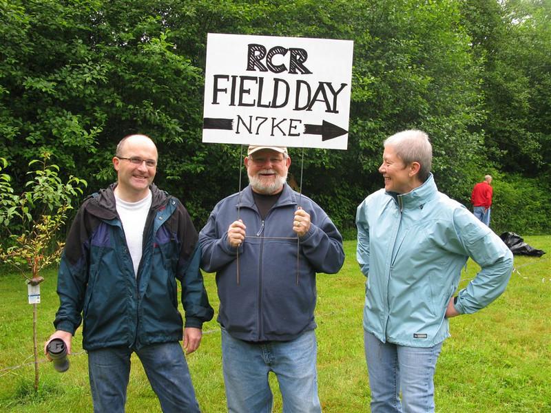 from the right: Lisa (no license!), Rick K7LOG this year's FD chief, David W7CF