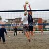 Pat Keenan and Levi Gunter battling at the net