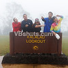 Laura Ratto, Jason Riddle, Tina Spotts, Tony Thompson, and Julie Chan think they see something in the fog at Kalalau Lookout, Waimea Canyon