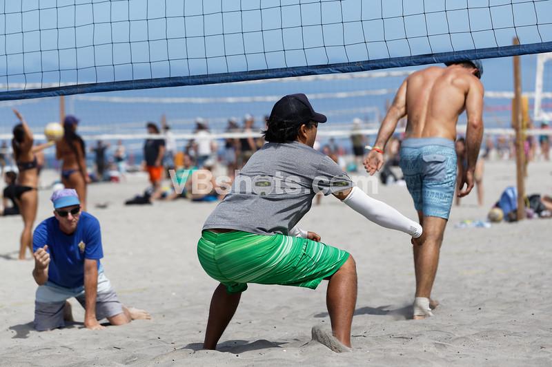 Michael Diaz flexes after the block