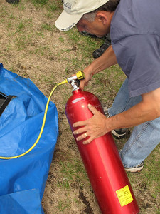 How to put up a large roomy tent in seconds...with compressed air.