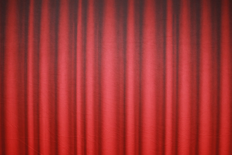 Red curtain backdrop (Backdrop is 9<br />  ft wide)