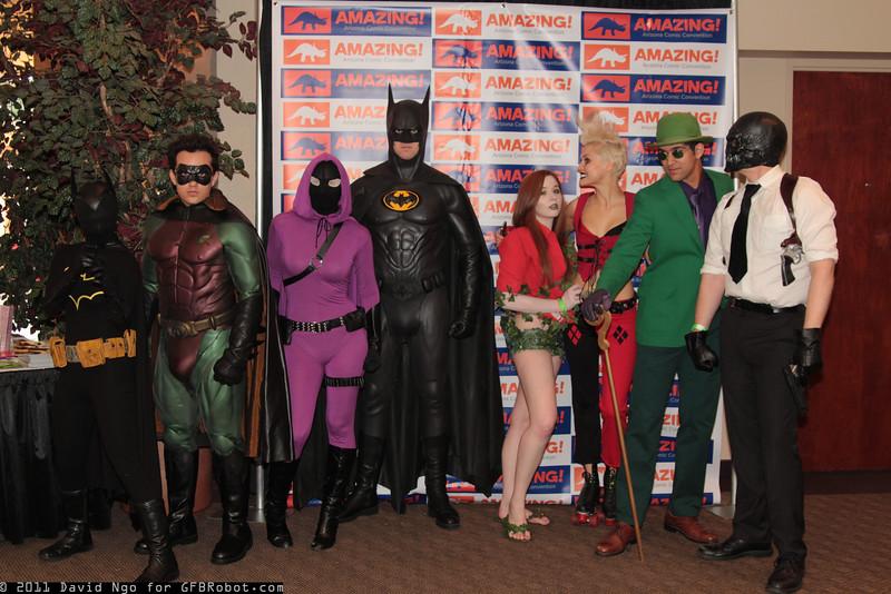 Batgirl, Robin, Batman, Poison Ivy, Harley Quinn, Riddler, and Black Mask