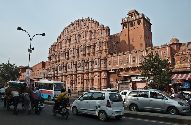 The Palace of the Winds -- a giant facade on the outer wall of the palace, created by the maharaja to allow the ladies of the harem to discreetly watch the goings-on in the busy city below. Hawa Mahal