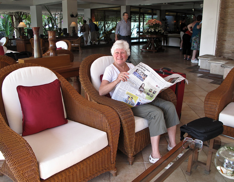 Barbara waiting for the car to take us to Madurai Airport - a three hour drive ahead of us.