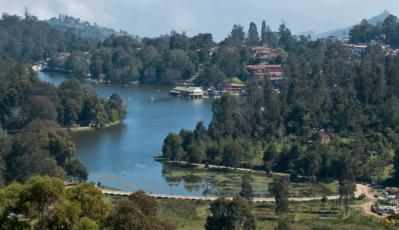"Kodai Lake, seen from the upper lake view road. Our hotel ""The Carlton"" top right hand side..."