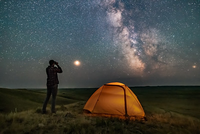 Gazing at the Milky Way in Grasslands National Park