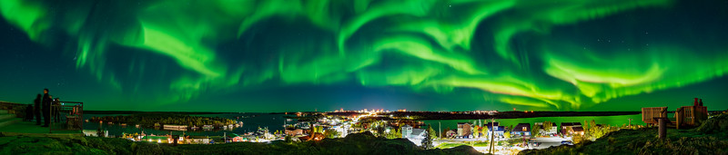 Panorama of the Aurora Dancing over Yellowknife
