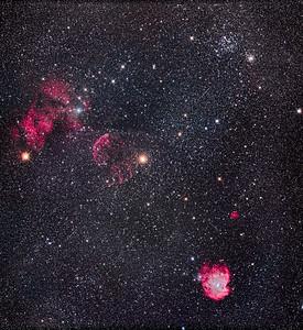 Nebulas and Clusters in Gemini and Orion Mosaic