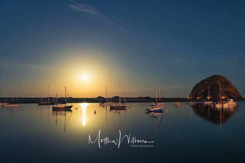 Morro Bay Moonsetting