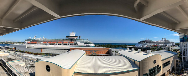 Panorama view from our veranda while still in port in Fort Lauderdale