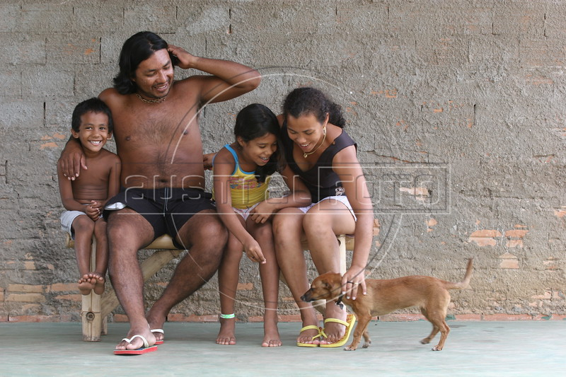 Indigenous leader Marcos Apurina and his family in Riozinho in Brazil's Amazonian state of, Rondonia, Mar. 18, 2006.(AustralFoto/Douglas Engle)