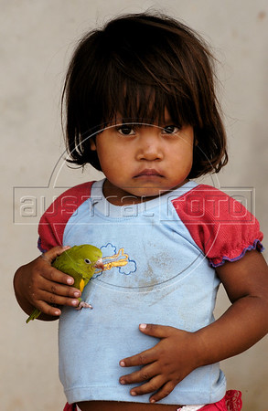A Cinta Larga Indian girl holds a bird on the the Roosevelt Indian Reserve near Espigao D'oeste in Brazil's western state of Rondonia, Oct. 28, 2004, about 2,100 miles northwest of Rio de Janeiro. Many believe the reservation holds South America's largest diamond lodes and could possibly pay Brazil's foreign debt, which has lead to a diamond rush on and around Indian lands. In April 2004, Indians from the Cinta Larga tribe killed 29 illegal diamond diggers inside their reservation. The massacre increased tensions between Indians and miners, and federal police since have stationed about 50 officers near the reservation, and conduct raids on nearby mines. (AustralFoto/Douglas Engle)