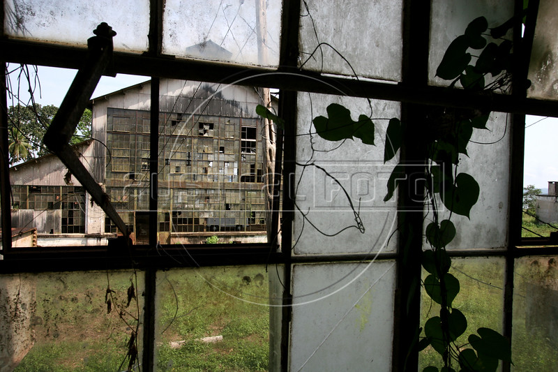 An abandonded factory building  is seen through the windows of another in Fordlandia, a former factory town created by the Ford Motor Company on the banks of the Tapajo—s River, September 6, 2005.Deep in the Amazon forest, 12 hours by boat from the regional capital of Santarem in Brazil's Para‡ state, the rubber plantation and processing factory is now abandoned to the rain-forest, an aging memorial to American ideals and to the Brazilian reality. It almost seems like time has stopped in Fordlandia, or better yet, time has passed it by. In typical american style, it was organized and efficient, an idea admired by many Brazilians, and perhaps more so by residents of the untamed Amazon. But It is an idea hard to implement in the wilds of the amazon. Some might also say that it is also a typical American style the way Ford came here and tried to implement something with little knowledge of the local customs or terrain. From 1928 to 1945, Ford came tried to take control of his rubber supply, one of the most important products of the rainforest. After only 17 years the company admitted defeat and retreated from the forest. (AustralFoto/Douglas Engle)