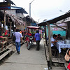 Main commercial boardwalk along the river in the village of Pevas, Peru along the Amazon River