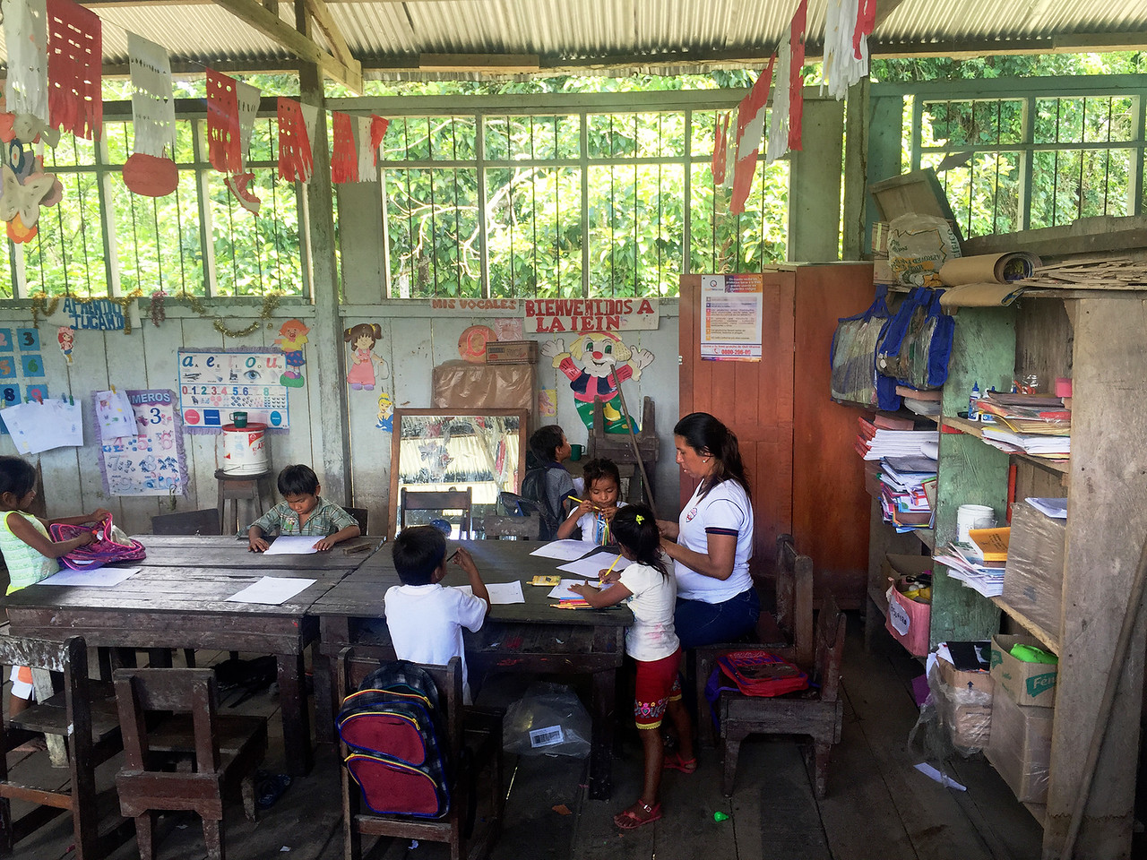 A school in one of the villages in Amazon, Peru