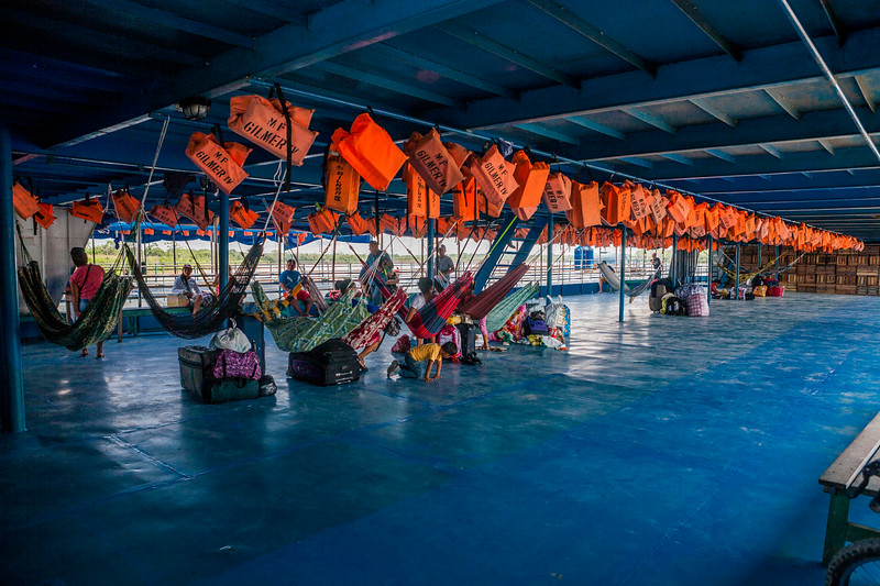 The first floor of the cargo cum passenger boat for transport over the river Amazon from Yurimaguas to Iquitos, Peru