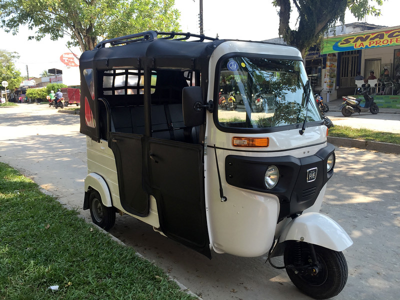 A high end auto rickshaw in Colombia, made by Bajaj