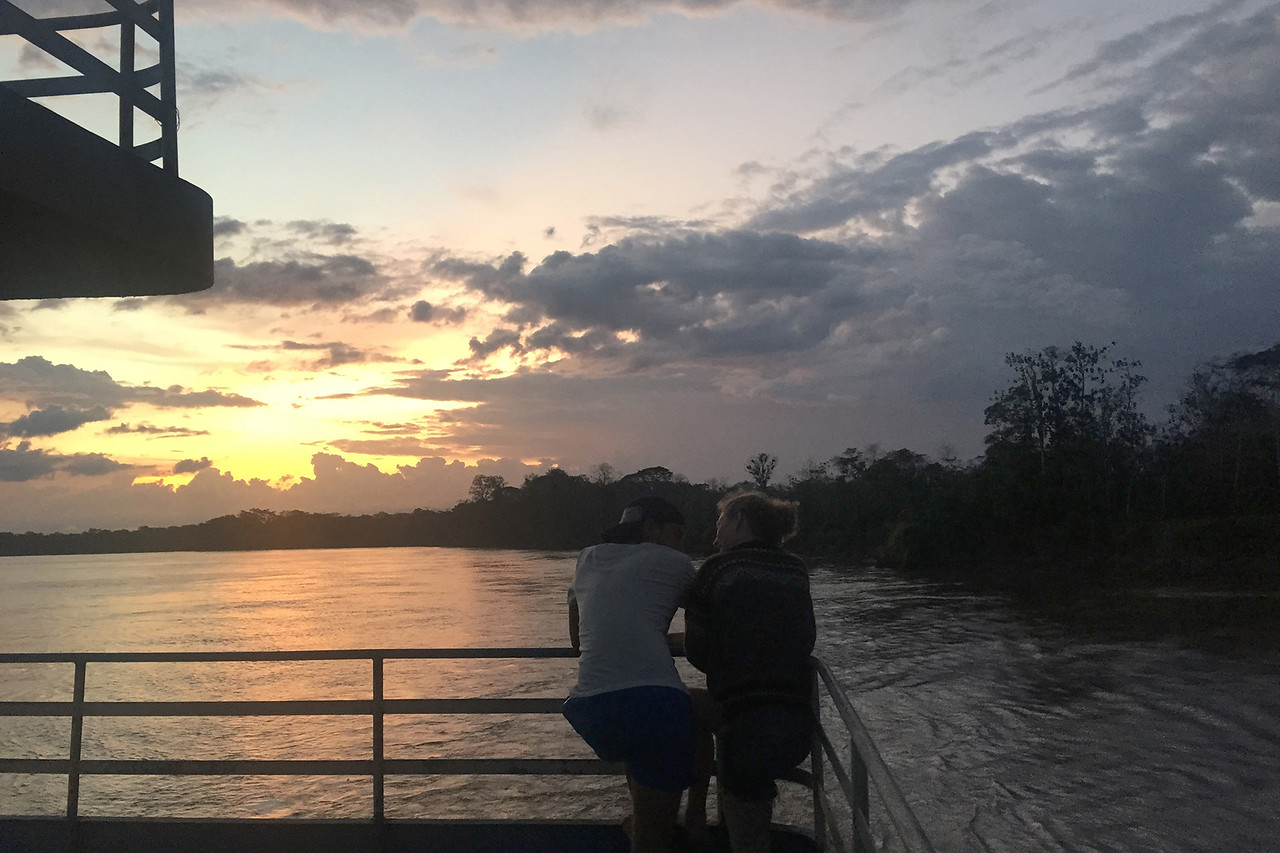 Enjoying the first sunset over the Amazon in Peru