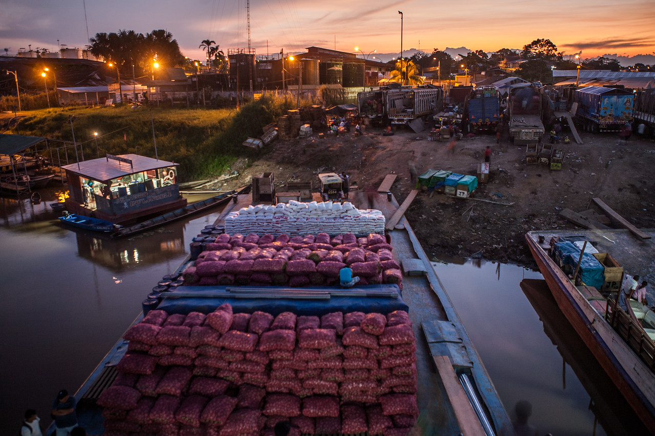 Loaded cargo boat leaving for Iquitos, Peru