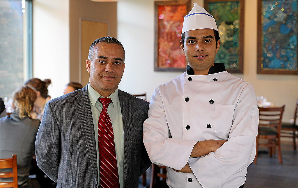 . Sam Khanal, owner of Ambrosia India Bistro in Scotts Valley, left, stands for a portrait with head chef Kapil Dhakal at the newly opened restaurant on Friday. (Kevin Johnson � Santa Cruz Sentinel)