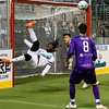 November 19, 2017 The Family Arena, St Charles Mo. St. Louis Ambush Forward Stefan St. Louis clears the ball from in front of the goal as the Ambush host the Harrisburg Heat in MASL action.