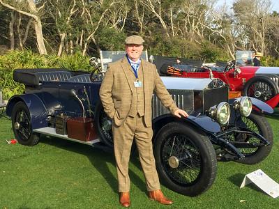 JCOF member, Simon White, displays his and Barbara's 'new' 1920 Rolls Royce Torpedo Open Tourer.