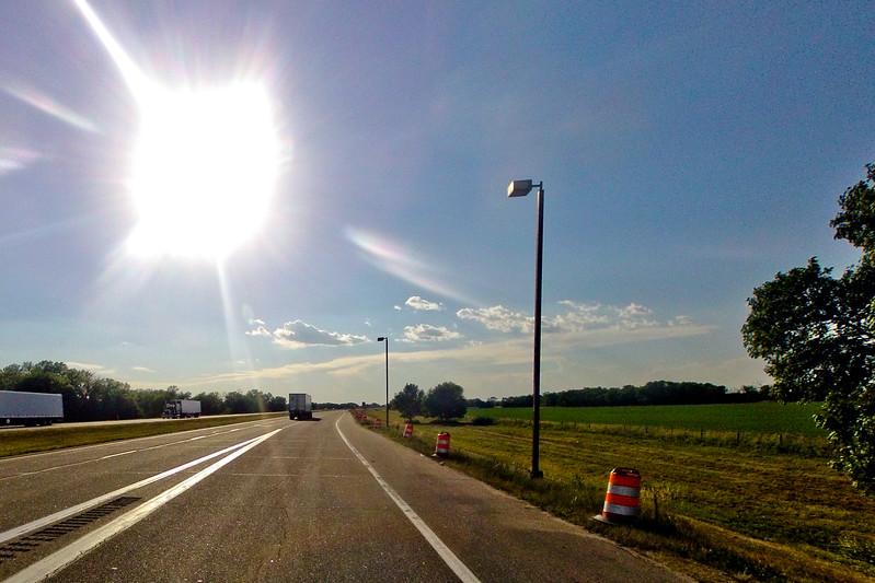 Sun Burst on the Road