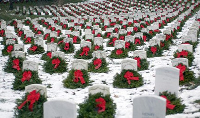 Wreath placement in Arlington Cemetary. Photographer unknown.