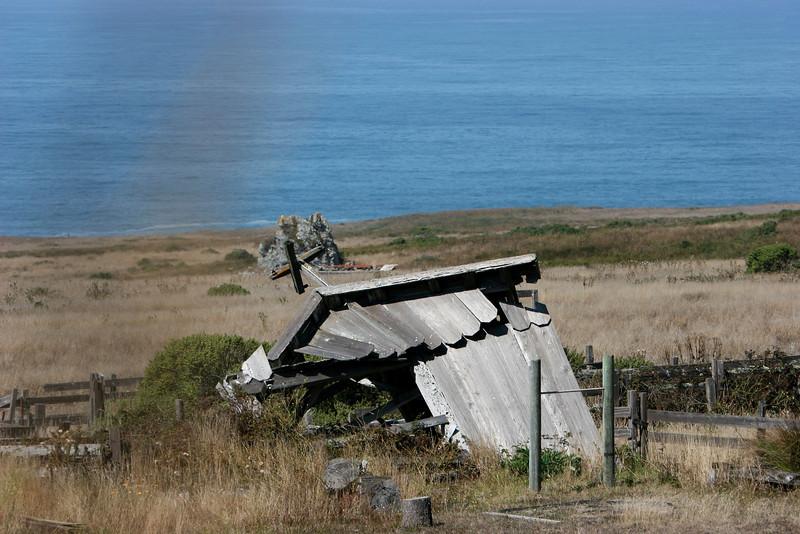 A broken shed near Bodega Bay, the broken power pole looking more like a Chapel Cross