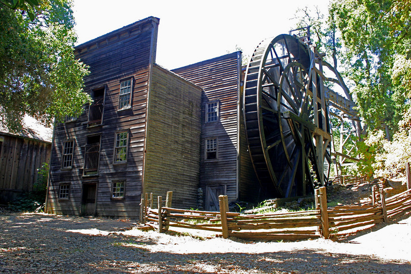 "This historic grist mill, known as the ""Bale Mill"" was erected by Dr. B. T. Bale, grantee Carne Humana Rancho, in 1846. The mill with surrounding land was deeded to the Native Sons of the Golden West by Mrs. W.W. Lyman. Restored through the efforts of the Native Son parlors of Napa County, under the leadership of past Grand President Bismarck Bruck, a grandson of Dr. Bale, and by the Historic Landmarks Committee of the Native Sons of the Golden West. The restored mill was dedicated June 21, 1925"