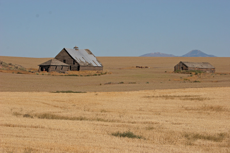 The harvest is over and buildings dwarfed by the size of the fields are the only structures in sight.