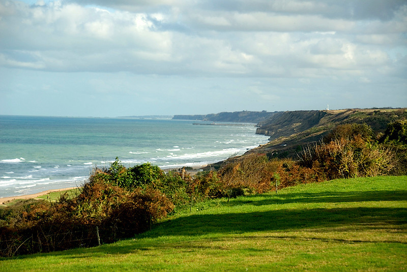 Omaha Beach, Normandy, France, from atop the hill overlooking the beach below (German position)