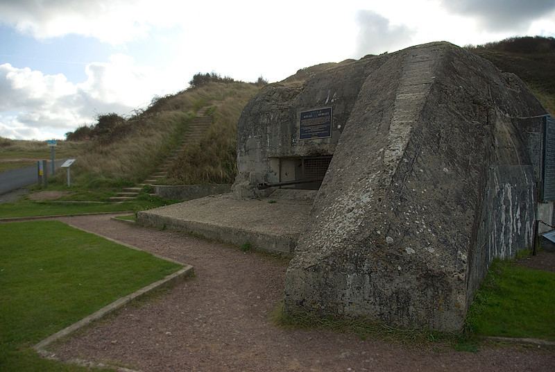 Omaha Beach, Normandy, France, German gun implacement bunker at low point along the hill at Omaha Beach - the first fortified blockhouse taken by the Americans on D-Day