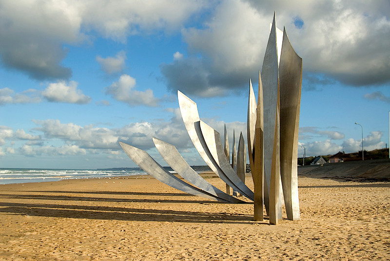 Omaha Beach, Normandy, France, Les Braves memorial to the American forces at Omaha Beach by Anilore Banon consisting of three elements: The Wings of Hope, Rise Freedom, and the Wings of Fraternity