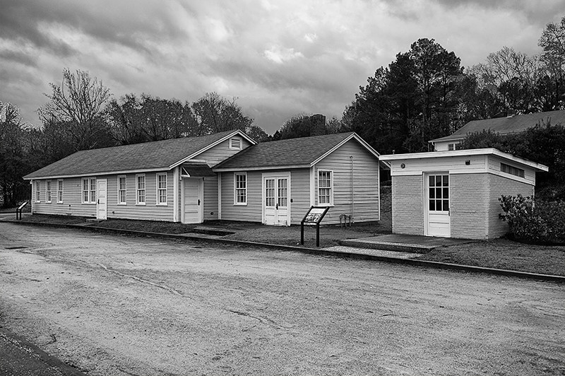 Tuskegee Airmen National Historic Park, Moton Field - Locker Administration Building and small oil storage shed