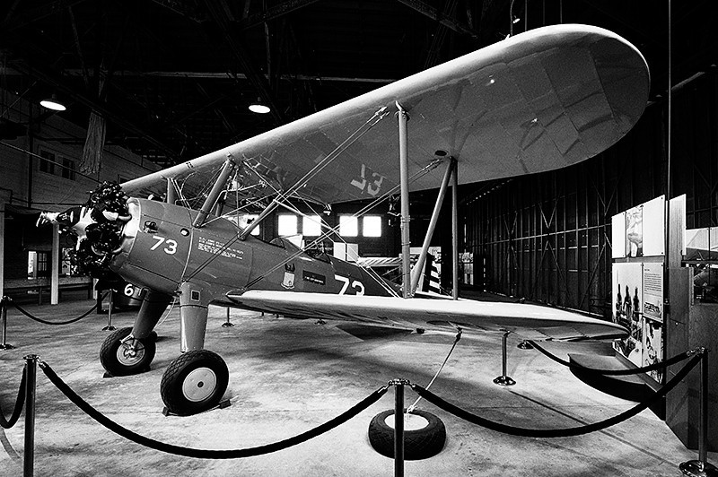 Tuskegee Airmen National Historic Park, Moton Field - Stearman (Boeing) Model 75 biplane used as a military trainer for the US Army Air Corps including the Tuskegee pilot trainees, inside Hanger #1