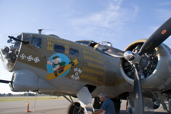 The nose of Nine O Nine. It must have been on quite a few missions given all the bombs painted on the fuselage.